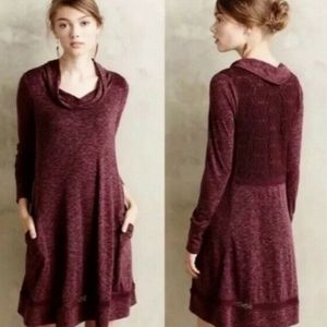 Anthropologie Cowl Crochet Sweater Swing Dress L